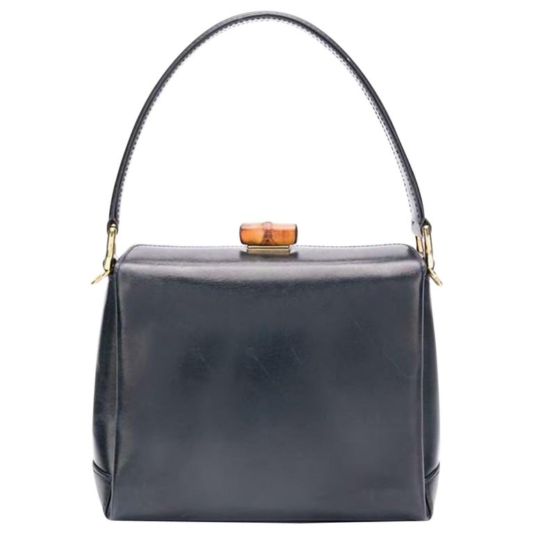 32d7a5f44b8 Gucci Small Navy Bamboo Leather Hand Bag For Sale at 1stdibs