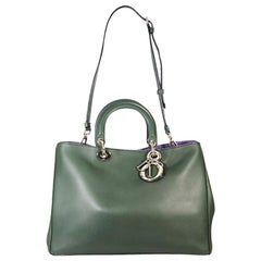 Dark Green Christian Dior Leather Diorissimo Satchel