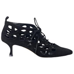 Black Manolo Blahnik Suede Cage Ankle Boots