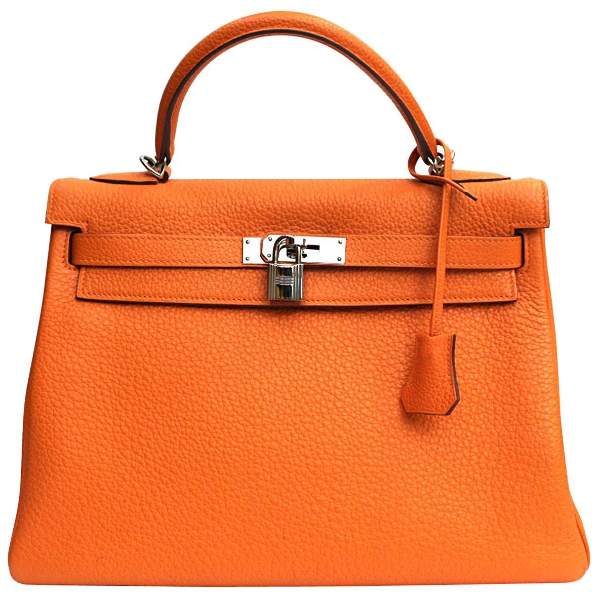 Hermes Orange Leather Kelly Taurillon Clemence 32cm Bag