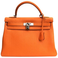 Hermes Orange Leather Kelly Taurillon Clemence 32cm Bag