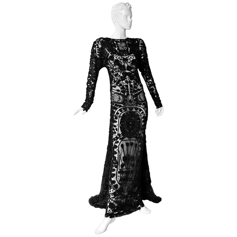 cbaa935b371 Tom Ford Magnificent Black Lace Cathedral Met Dress Gown New For Sale