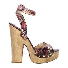 Red Alexandre Birman Snakeskin Wooden Sandals