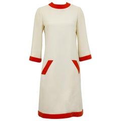 1960s Geoffrey Beene Cream and Orange Day Dress