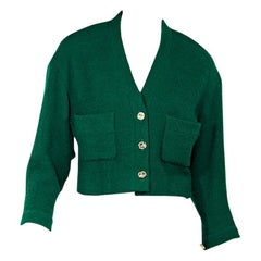 Hunter Green Vintage Chanel Cropped Jacket