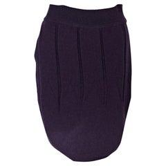 Purple Alaia Stretch Wool Skirt