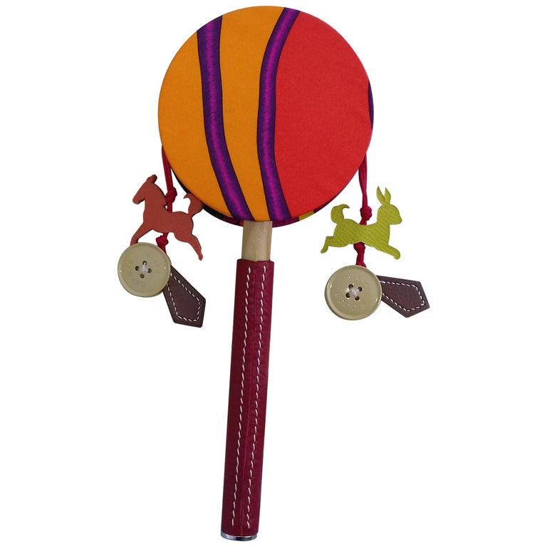 Hermès Petit H Tambourine Rattle Toy Silk Leather Wood in Box For Sale