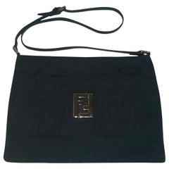 Fendi Small Monogram Shoulder Bag With Silver Tone Hardware