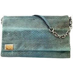 Dolce & Gabbana Turquoise Python Leather Shoulder Bag
