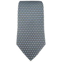 SALVATORE FERRAGAMO Grey & Blue Shamrock Print Silk Tie