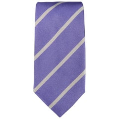 RALPH LAUREN Purple Label Diagonal Silver Striped Silk Tie
