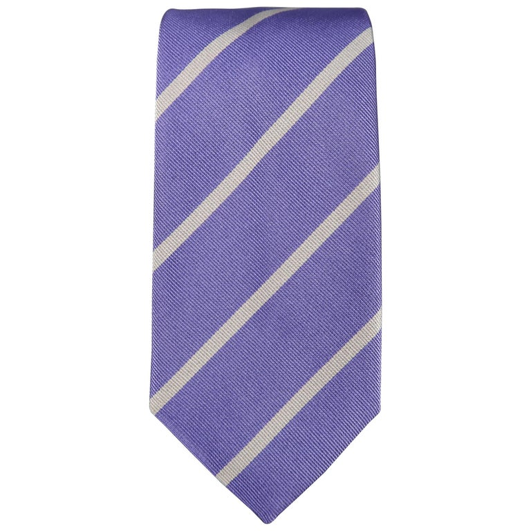 RALPH LAUREN Purple Label Diagonal Silver Striped Silk Tie For Sale