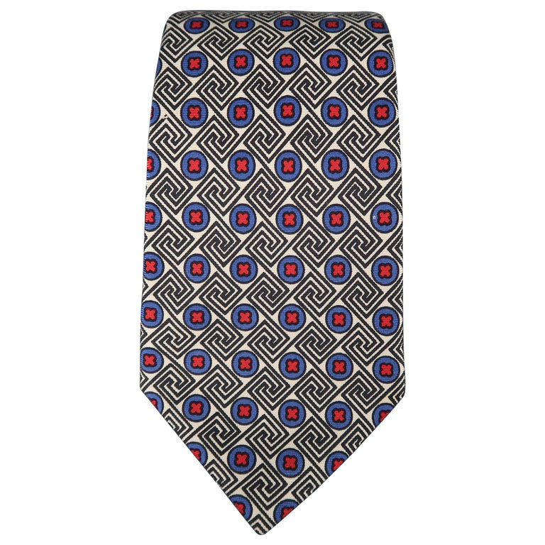 KITON Blue & Red Crosses Silk Tie For Sale