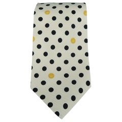GIANNI VERSACE Vintage Beige Black Dots Silk Tie