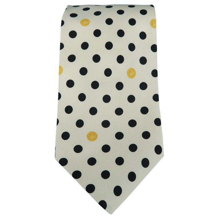 GIANNI VERSACE Vintage Beige Black Dots Silk Tie For Sale