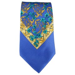 GIANNI VERSACE Royal Blue Paisley Baroque Silk Tie