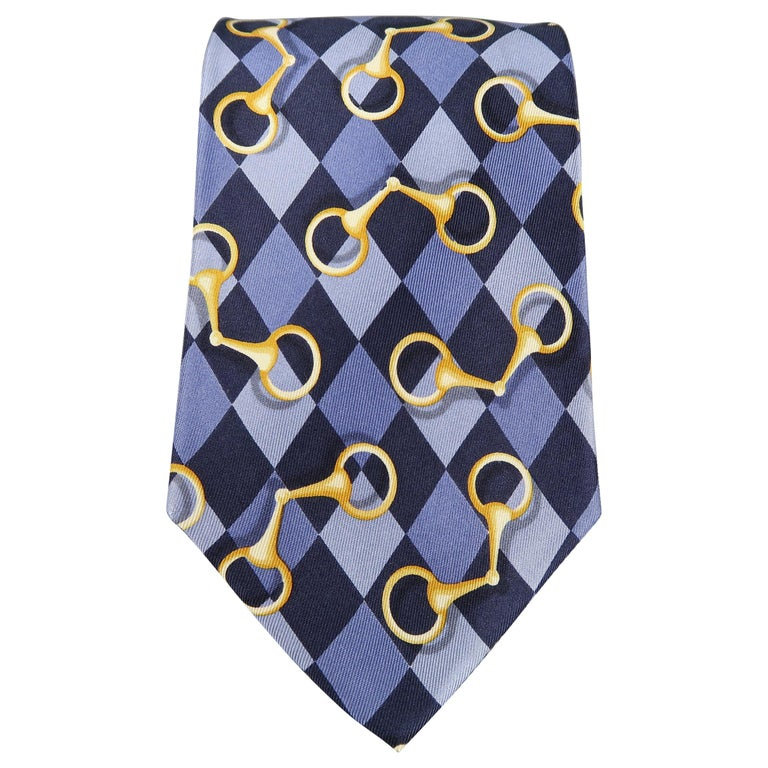 GUCCI Purple Rhombus Horsebit Silk Tie For Sale