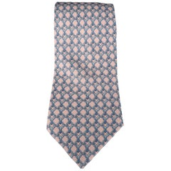 HERMES Pink & Blue Chain Print Silk Tie with Box