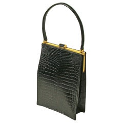 Unusual Architectural Black Alligator Handbag by Christian Dior