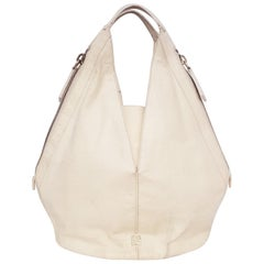 Givenchy Ivory Tinhan Ostrich Leather With Two Side Zippers Hobo Bag