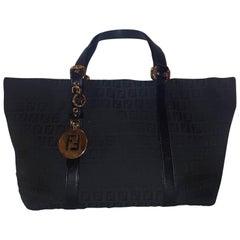 Fendi Black Vintage Zucca Monogram Canvas Tote Bag