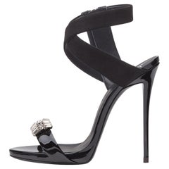 Giuseppe Zanotti NEW Black Suede Patent Crystal Evening Sandals Heels in Box