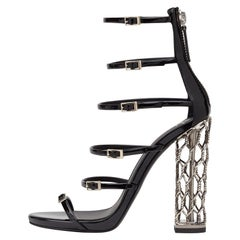 Giuseppe Zanotti NEW Black Patent Silver Metal Cage Evening Sandals Heels in Box