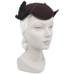 1930s Chocolate Brown Hat with Hand-cut Felt Leaves