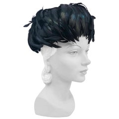 1960s Black Roaster Feathered Cocktail Hat