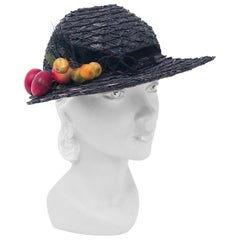 1930s Black Straw Day Hat with Wooden Fruit