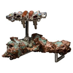 Studio Greytak 'Sunstone Cufflinks On Native Copper' With Opal & Garnet