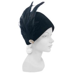 1960s Black Fur Felt Cloche with Long Peacock Feathers and Rhinestone Accent
