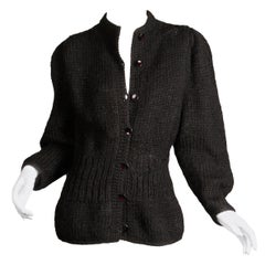 1980s I. Magnin Vintage Black Chunky Knit Wool Full Sleeve Cardigan Sweater