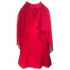 Christopher Dean Early 2000s Lipstick Red Size 4 Silk Chiffon Blouse Top