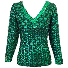 1970s Lilli Diamond Kelly Green Metallic Sequined Long Sleeve Knit Shirt Blouse