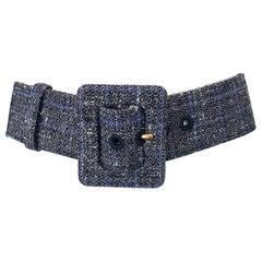 Yves Saint Laurent by Tom Ford Black, White and Blue Plaid YSL Tweed Belt