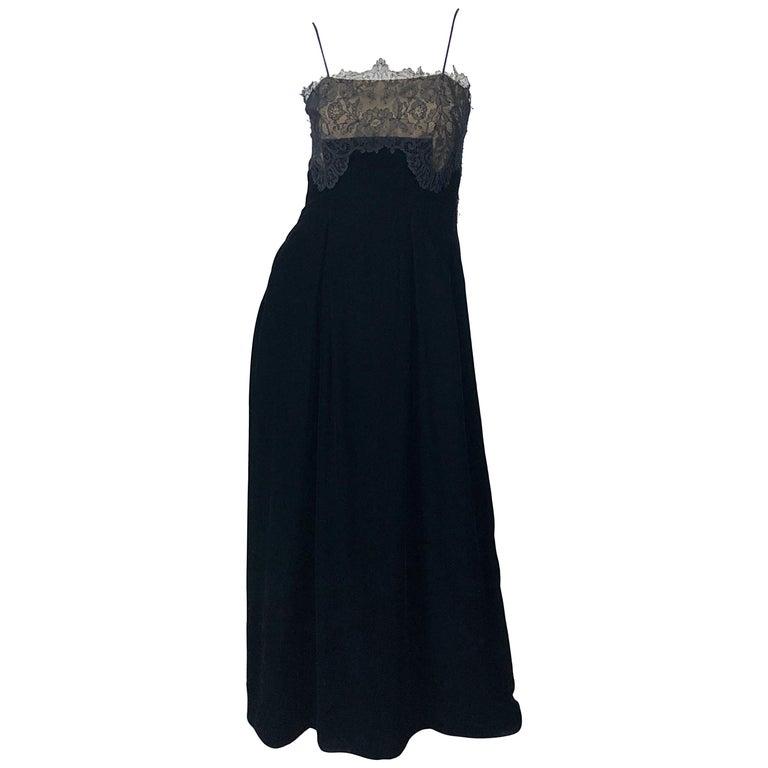 Beautiful Vintage Richilene 1970s Blacks Silk Velvet + Nude Lace Chiffon Gown For Sale