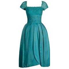 1950s- 1960s Dorothy Litzan for Roban Vintage Blue Silk + Lace Cocktail Dress