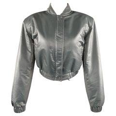 CLAUDE MONTANA Size 6 Metallic Teal Grey Taffeta Cropped Bomber Jacket