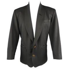 Vintage JEAN PAUL GAULTIER S Black Solid Wool Blend Shawl Collar Jacket