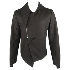 D.GNAK by KANG D. 40 Black Pointed Half Collar Asymetrical Jacket