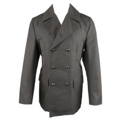 DOLCE & GABBANA 40 Black Cotton Blend Twill Double Breasted Trenchcoat