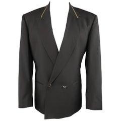 CLAUDE MONTANA 40 Black Double Breasted Zip Peak Lapel Jacket
