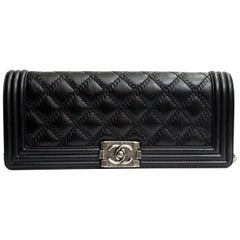 Chanel Black Leather Quilted Long Boy Clutch Bag