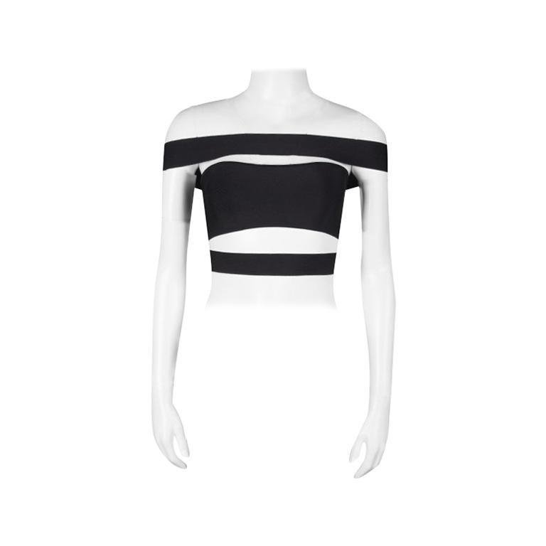 Balmain Black Knit Cutout Bandeau Top S For Sale