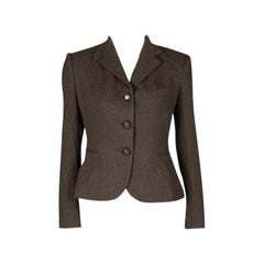 Ralph Lauren Brown Cashmere Contrast Lined Blazer Mv