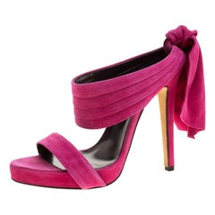 Oscar de la Renta Fuchsia Pink Suede Sandy Bow Detail Sandals Size 37