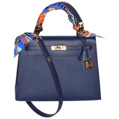 Hermes Blue Indigo Epsom Leather with Rouge H Contour Rose Gold Hardware Limited