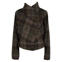 Ralph Lauren Multicolor Plaid Draped Collar Detail Cashmere Jacket M