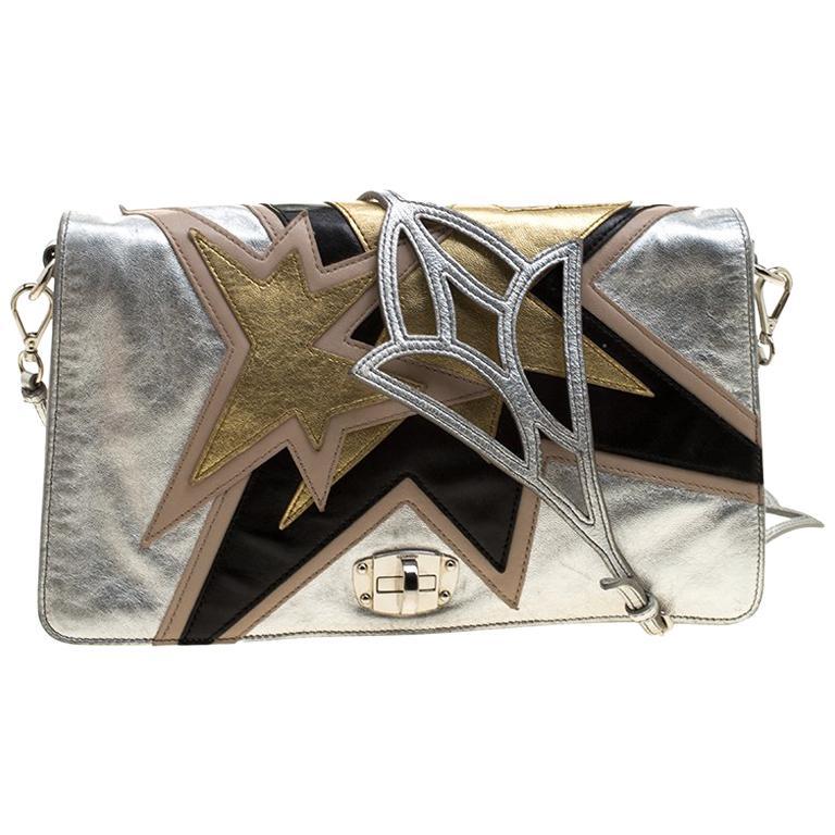 322c47be9 Miu Miu Silver Leather Mini Star Motif Diagonal Shoulder Bag at 1stdibs